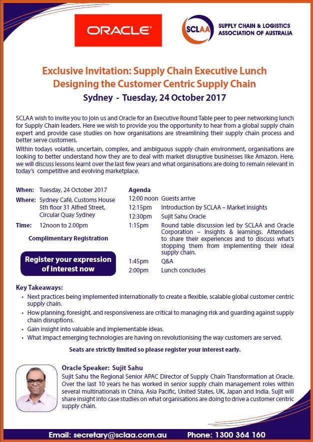 Supply chain and logistics association of australia ltd nsw supply chain and logistics association of australia ltd nsw exclusive invitation supply chain executive lunch designing the customer centric supply stopboris Gallery