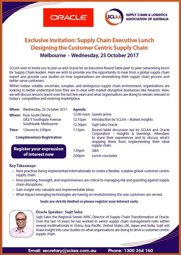 Supply chain and logistics association of australia ltd vic supply chain and logistics association of australia ltd vic exclusive invitation supply chain executive lunch designing the customer centric supply stopboris Images